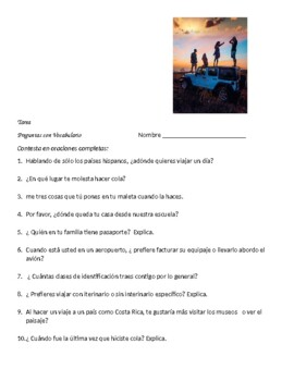 Avancemos 2 Unit 1 Lesson 1   Packet with 4 vocabulary & verb exercises