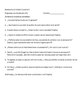 Avancemos 2 Unit 1 Lesson 1    Speaking & Writing exercises Packet
