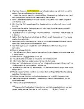 Avancemos 2 Unit 1  Lesson 1 Survey  Speaking Activity