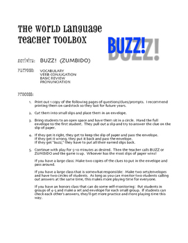 Avancemos 2 Unit 1 Lesson 2 Buzz Game