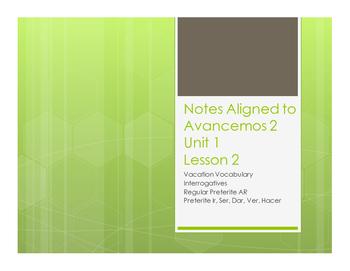 Avancemos 2 Unit 1 Lesson 2 Notes