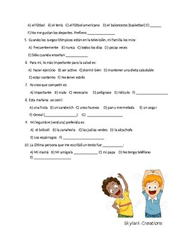 Avancemos 2 Unit 2 Lesson 1 Survey and Speaking Activity