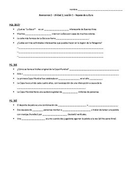 Avancemos 2, Unit 2 Lesson 1 (Unidad 2-1) Culture Review questions
