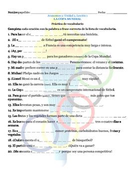 Avancemos 2 Unit 2 Lesson 1 Vocabulary Practice