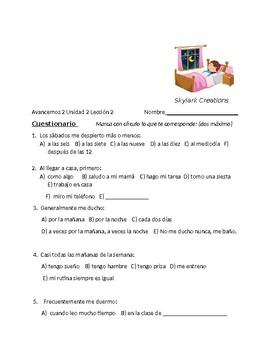 Avancemos 2 Unit 2 Lesson 2 Survey and Speaking Activity