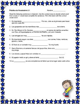 Avancemos 2 Unit 2 Vocabulary Activity