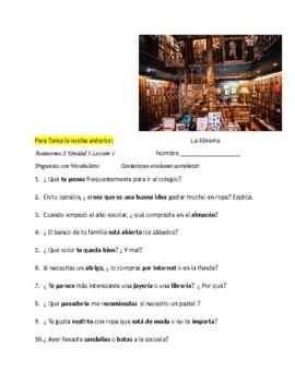 Avancemos 2 Unit 3 Lesson 1 Preguntas pa' Compañeros &  Terminar  la Frase