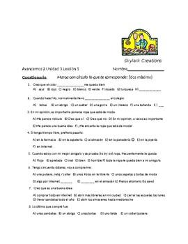 Avancemos 2 Unit 3 Lesson 1 Survey and Speaking Activity
