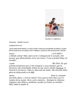 Avancemos 2 Unit 3 Lesson 1  Text Messages Reading Comprehension - Shopping