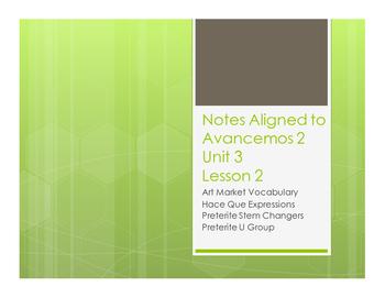 Avancemos 2 Unit 3 Lesson 2 Notes
