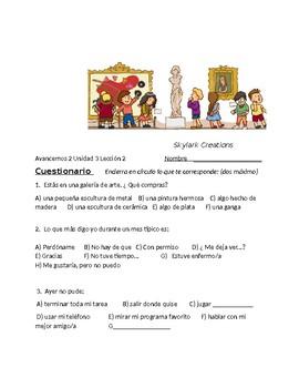 Avancemos 2 Unit 3 Lesson 2 Survey and Speaking Activity