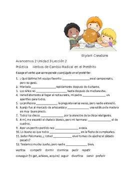 Avancemos 2 Unit 3 lesson 2 Stem-changing  Preterit Practice w/ Verb Fill-in Ex