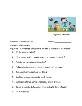 Avancemos 2 Unit 4 Lesson 1 Mi Niñez  Interview and Guided Paragraph - Imperfect