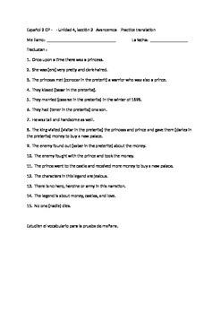 Avancemos 2 Unit 4 Lesson 1 translation practice exercise
