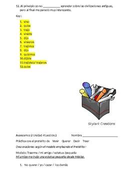 Avancemos 2 Unit 4 lesson 2 Irregular Preterit  with  Venir Traer Decir, etc