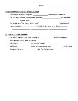 Avancemos 2, Unit 4 Lesson 2 (Unidad 4-2) Culture Review, jigsaw group activity!