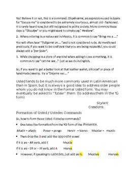 Avancemos 2 Unit 5 Lesson 1 Formal command Packet  usted /ustedes