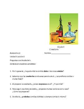 Avancemos 2 Unit 5 Lesson 1 Preguntas con Vocabulario & Preguntas pa' Compañeros