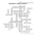 Avancemos 2, Unit 5 Lesson 2 (5-2) Crossword Puzzle