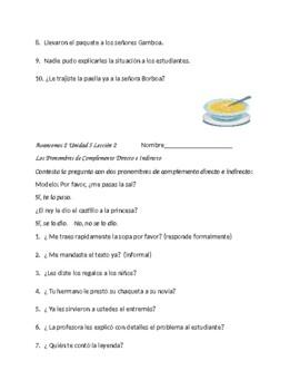 Avancemos 2 Unit 5 lesson 2 Double Object Pronouns Practice