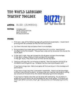 Avancemos 2 Unit 7 Lesson 2 Buzz Game