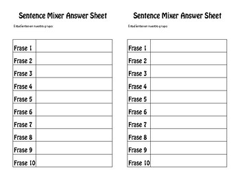 Avancemos 2 Unit 8 Lesson 2 Sentence Mixer