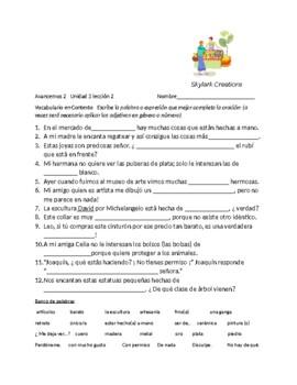 Avancemos 2 Unit 3 lesson 2 Vocabulary Fill-in