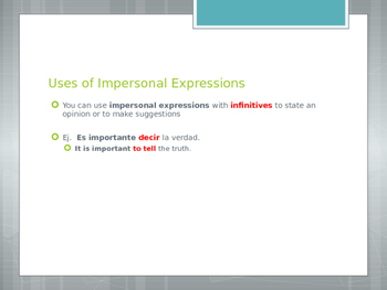 Avancemos 3.2.2 Impersonal Expressions