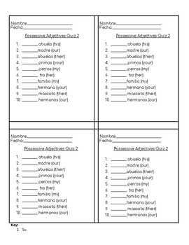 Avancemos 3.2 Possessive Adjectives Quiz