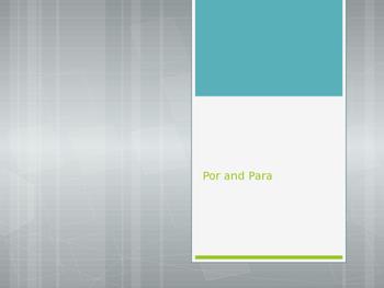 Avancemos 3.3.1 Por and Para