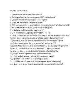 Avancemos 3  Unit 4  and Unit 5   Oral Exam or Practice