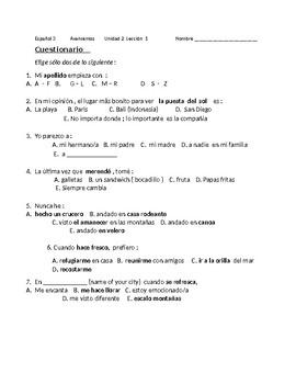 Avancemos 3 Bundle Survey Speaking Activities Unit 1 through Unit 5