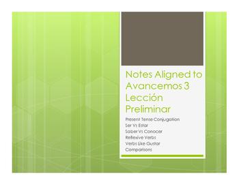 Avancemos 3 Lección Preliminar Notes