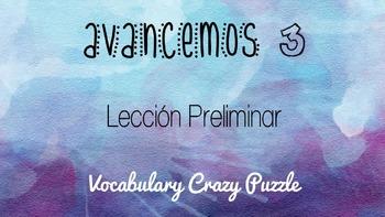 Avancemos 3 - Leccion Preliminar - Vocabulary Crazy Puzzle