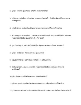 Avancemos 3 Unit 3 Lesson 2 Oral Exam or Practice  50 questions