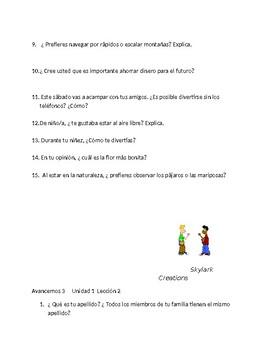 Avancemos 3 Unit 1 through Unit 3 Lesson 2 100 questions   Oral practice or exam
