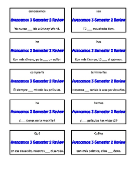 Avancemos 3 Semester 2 Review Circle Puzzle