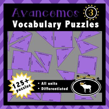 Avancemos 3 Spanish Vocabulary Puzzles (Entire Textbook)