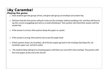 Avancemos 3 U1L1 Vocabulary with ¡Ay, Caramba! Partner Game