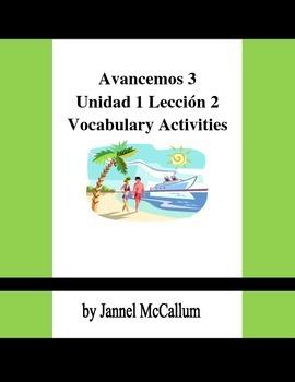 Avancemos 3 - U1L2 Vocabulary Activities