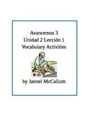 Avancemos 3 - Unidad 2 Lección 1 Vocabulary Activities