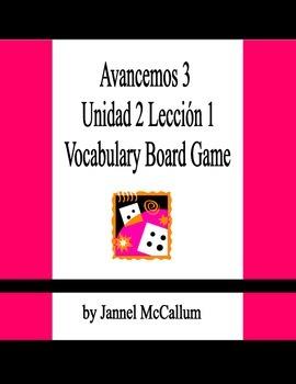 Avancemos 3 - Unidad 2 Lección 1 Vocabulary Board Game