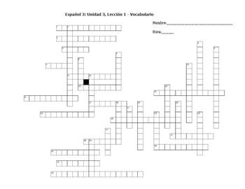 Avancemos 3:  Unidad 3, Lección 1 - Vocabulary Crossword