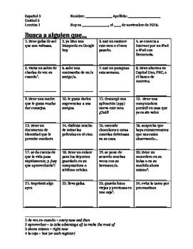 Avancemos 3 - Unidad 5 Lección 1 Vocabulary - Classmate Search