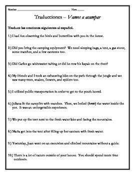 Avancemos 3 - Unit 1 Lesson 1 Translations Worksheet (Vocab w/Preterite)