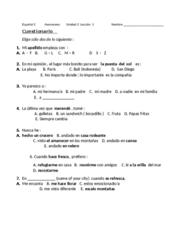 Avancemos 3 Unit 1 Lesson 2 Survey and Speaking Activity
