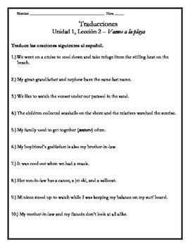 Avancemos 3 - Unit 1 Lesson 2 Translations Worksheet with Vocabulary Emphasis