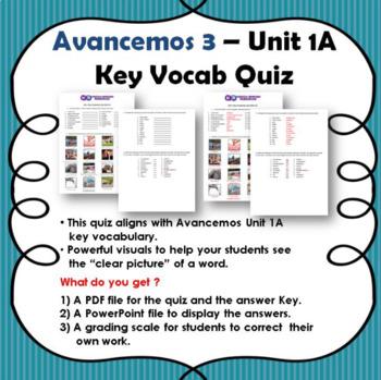 Avancemos 3- Unit 1A Vocabulary Quiz