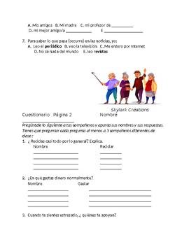 Avancemos 3 Unit 2 Lesson 1 Survey and Speaking Activity