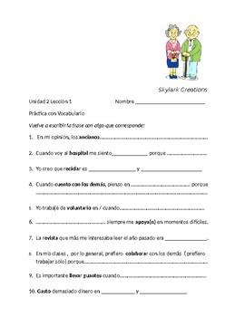 Avancemos 3 Unit 2 Lesson 1 Using Vocabulary in Context